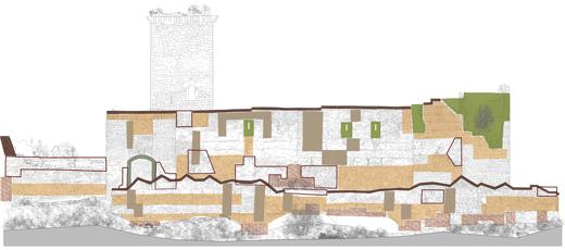 Consolidación del muro oriental del Castillo de Ucero en Soria