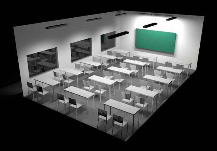 ejemplo de iluminación en un aula tipo